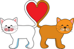 Royalty-free holiday clipart picture of two cats, one white, one orange, standing tail to tail and forming a heart, symbolizing love on Valentine's Day.
